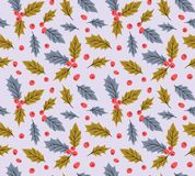 New year vector seamless pattern with leaves and berries  of Holly. Christmas hand drawn wrap paper design. New year seamless pattern with leaves and berries Stock Image