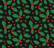 New year vector seamless pattern with leaves and berries  of Holly. Christmas hand drawn wrap paper design. New year seamless pattern with leaves and berries Royalty Free Stock Images