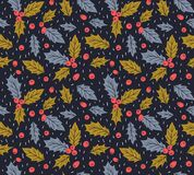 New year vector seamless pattern with leaves and berries  of Holly. Christmas hand drawn wrap paper design. New year seamless pattern with leaves and berries Royalty Free Stock Photos