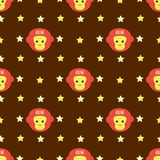 New Year 2016 seamless pattern with monkey head and stars. Vector background Stock Photo