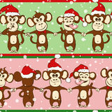 New Year Seamless Pattern With Monkey Holding Hands. Stock Photo
