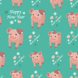 New Year 2019. Seamless pattern with pigs, vector textile fabric print. Vector illustration. Seamless pattern with pigs, vector textile fabric print. Vector vector illustration