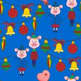 New year seamless pattern with pink pigs and Christmas toy on a blue background. Vector illustration.Print for book covers,textile,fabric,wrapping paper vector illustration