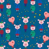 New year seamless pattern with pink pigs and stars on a blue background.Vector. Illustration.Print for book covers,textile,fabric,wrapping paper,scrapbooking stock illustration