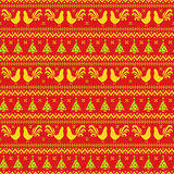New Year seamless pattern with roosters and Christmas trees. Happy New Year 2017! Seamless pattern with roosters, Christmas trees and knitted ornament. Vector Royalty Free Stock Photography