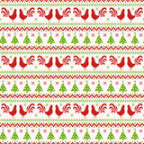 New Year seamless pattern with roosters and Christmas trees. Happy New Year 2017! Seamless pattern with roosters, Christmas trees and knitted ornament. Vector Royalty Free Stock Images