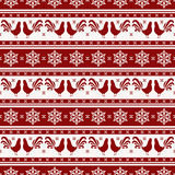 New Year seamless pattern with roosters and snowflakes. Happy New Year 2017! Seamless pattern with roosters and snowflakes. Striped background in red and white Royalty Free Stock Photos