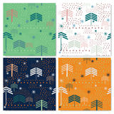 New Year seamless pattern set Christmas tree Royalty Free Stock Images