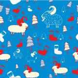 New year seamless pattern. New year pattern with sheeps. Vector illustration royalty free illustration