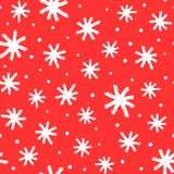New Year seamless pattern with snowflakes painted brush strokes. royalty free illustration