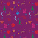 New Year seamless purple pattern Royalty Free Stock Image