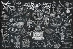 New year season doodle icons,symbols.Chalk Royalty Free Stock Photo