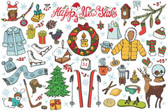 New year season doodle icons,symbols.Colored kit. New year season doodle set.Winter wear, sport,gifts,snowflakes,food,animals with other holiday symbols Stock Image