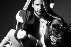 New year sensual couple with wine Royalty Free Stock Photo