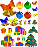 New year set. Bells, bows, presents, spheres, pine-trees. Eps format stock illustration