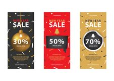 New Year set of color coupon codes. Stock Images
