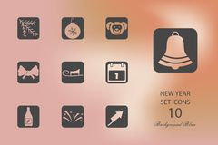 New Year. Set of flat icons on blurred background. Vector illustration royalty free illustration