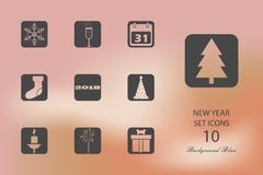 New Year. Set of flat icons on blurred background. Vector illustration vector illustration