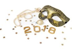 New year 2018 set of mask, ball and pearl bead. Gold tones Royalty Free Stock Images