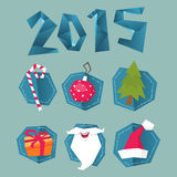 New year set. New year stuff, beard, box, tree stock illustration