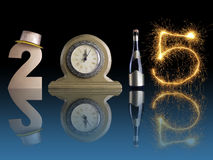 New 2015 Year. New Year 2015 set up of golden digit two, table clock, bottle of champagne and digit five created from burning sparkler all with mirror reflection stock photos