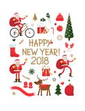 New Year set. On white background. Vector illustration stock illustration