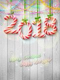 New Year 2018 in shape of candy stick as christmas decoration royalty free illustration
