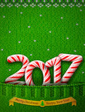 New Year 2017 in shape of candy stick in knitted pocket. Sweater fragment with year number as holiday candies. Vector image for new years day, christmas, sweet Royalty Free Stock Image