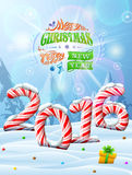 New Year 2016 in shape of candy stick in snow. Winter landscape with candies, gift box, congratulation. Qualitative vector illustration for new year's day Stock Images