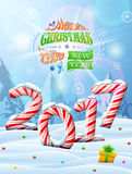 New Year 2017 in shape of candy stick in snow. Winter landscape with candies, gift box, congratulation. Vector image for new years day, christmas, sweet-stuff Stock Photo