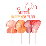 New Year 2017 in shape of candy stick  on white Royalty Free Stock Photography
