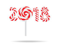 New Year 2018 in shape of candy stick  on white. Vector illustration Stock Images