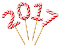 New Year 2017 in shape of candy on wooden stick Royalty Free Stock Photo