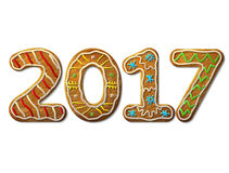 New Year 2017 in shape of gingerbread isolated on white Stock Photo