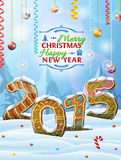 New Year 2015 in shape of gingerbreads in snow Stock Photography