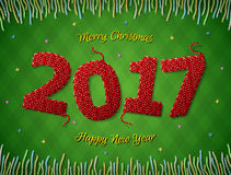 New Year 2017 in shape of knitted fabric on checkered background. Christmas wishes surrounded by colored threads. Vector image for new years day, christmas Royalty Free Stock Images