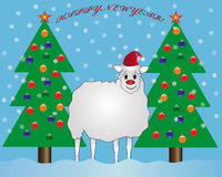 New year. Sheep with fir tree toys and snowflakes stock illustration