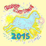 New year of sheep fireworks. Happy New Chinese Year card with fireworks, hand drawn illustration of a sheep over a colored background Royalty Free Stock Image