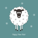 New Year sheep. New Year greeting card with cute sheep - symbol of the year 2015 Stock Photo