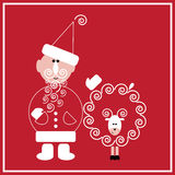 New Year of the Sheep. Illustration of Santa Claus with the sheep on the red background Royalty Free Stock Photos