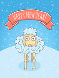 New Year Sheep. Vector cartoon colorful holiday illustration of a happy sheep on a snowy background with a ribbon. New Year character. Chinese horoscope symbol Stock Image