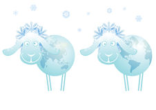 New Year sheep 2015. New Year 2015 vector  illustration with sheep as globe Stock Photos