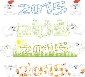 2015 new year, sheep. vector illustration. 2015 new year card with white sheep. vector illustration Stock Images