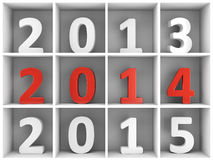2014 new year shelf with numbers. 2014 new year concept. White and red number characters placed on white book shelf Royalty Free Stock Photography
