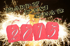 New Year 2015. Shield with the year number 2015 and fireworks Stock Image