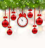 New Year Shimmering Background with Clock. Illustration New Year Shimmering Background with Clock, Fir Branches and Glass Balls - Vector Royalty Free Stock Image