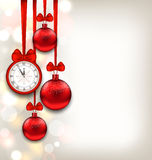 New Year Shimmering Background with Clock and. Illustration New Year Shimmering Background with Clock and Glass Balls - Vector Royalty Free Stock Photos