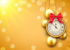 2018 new year shining background with clock. Happy new year 2018 celebration decoration golden balls poster, festive card template.  Royalty Free Stock Images