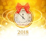 2018 new year shining background with clock. Happy new year 2018 celebration decoration golden balls poster, festive card template.  vector illustration