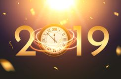 2019 new year shining background with clock. Happy new year 2019 celebration decoration poster, festive card template.  stock illustration